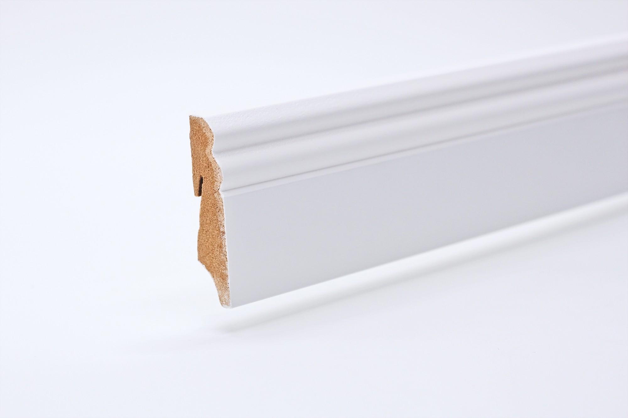 Sockelleiste (2400 x 18 x 70) Altdeutsch weiß lackiert - Interio