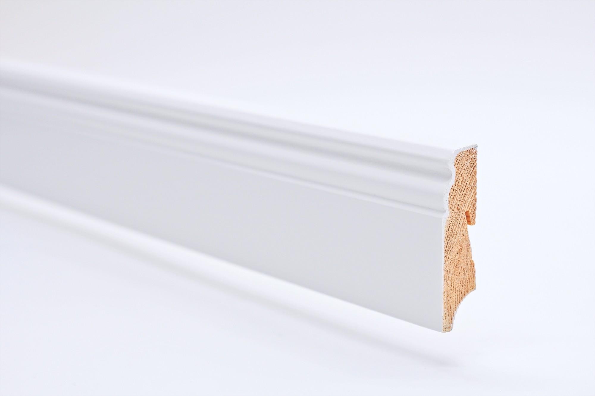 Sockelleiste (2400 x 18 x 70) Altdeutsch weiß lackiert Massivholz - Interio