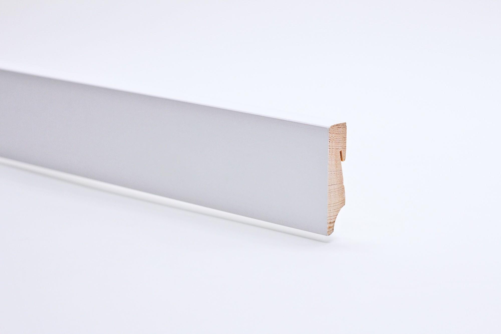 Sockelleiste (2400 x 18 x 60) eckig gefast weiß lackiert Massivholz - Interio
