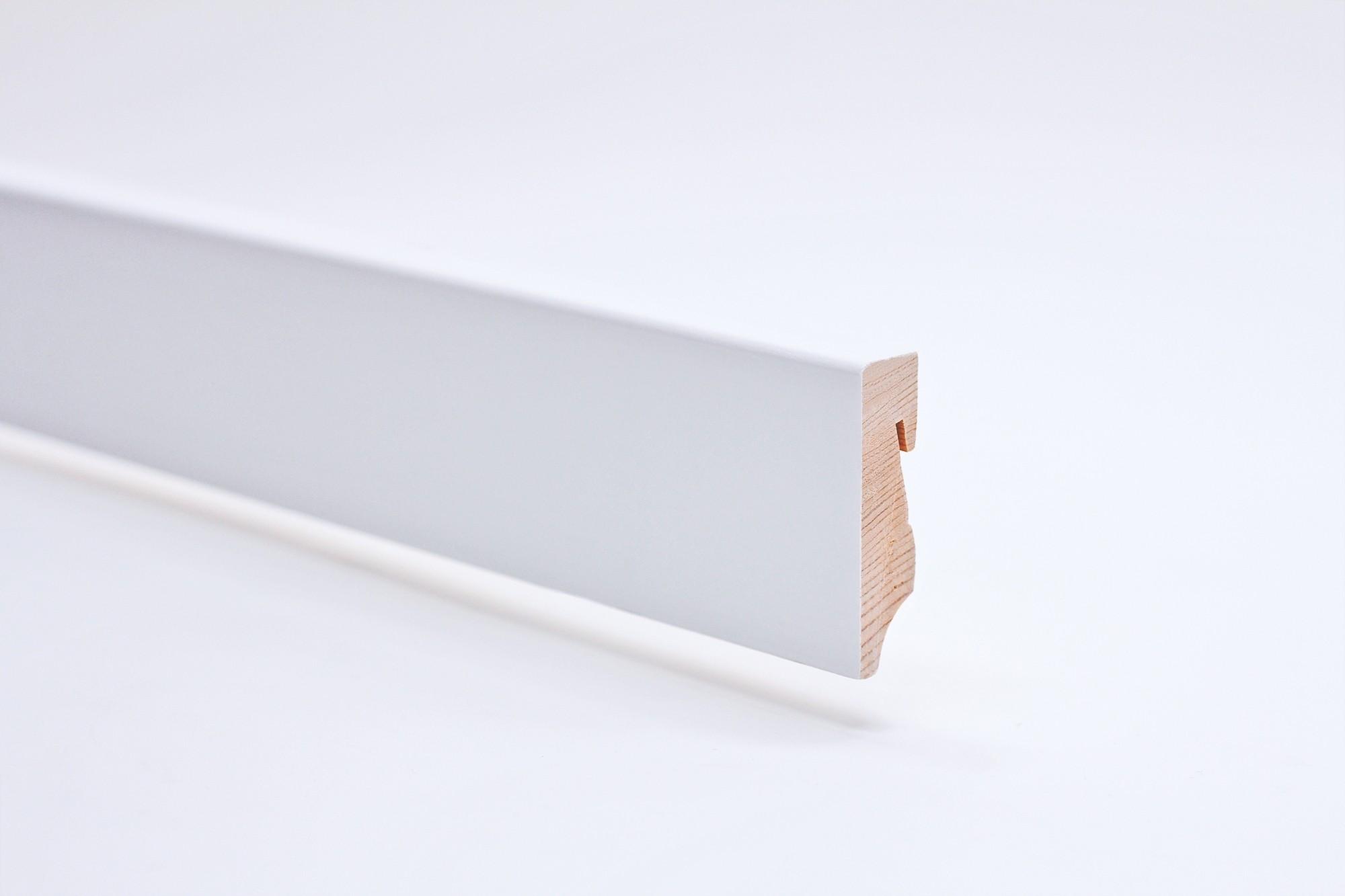 Sockelleiste (2400 x 16 x 58) eckig mit Rundung weiß lackiert Massivholz - Interio
