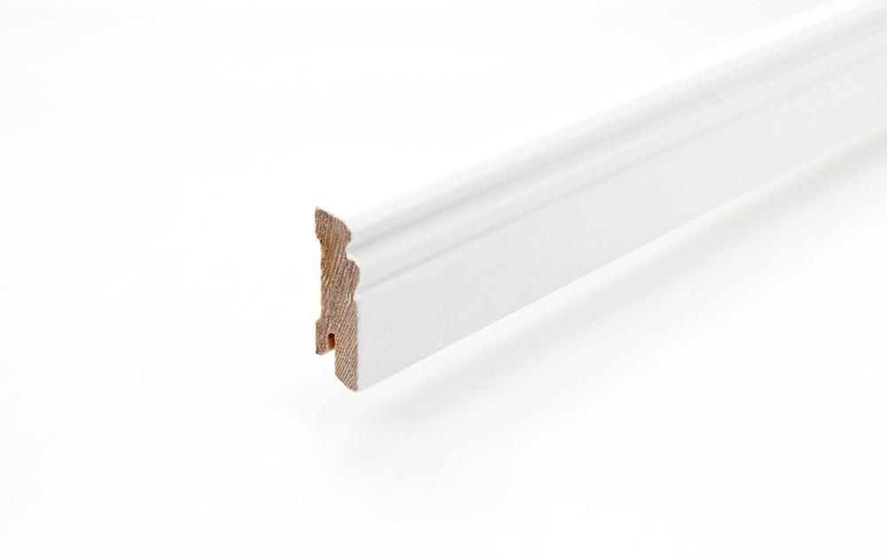 Sockelleiste 18 x 58 x 2400 mm Massivholz weiß lackiert Altdeutsch 58 Clip-Nut