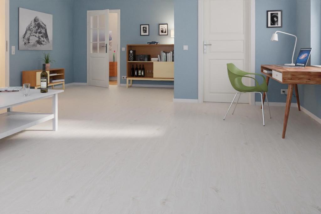 Milieuansicht Arbeitszimmer von Rustikal Weiß K396 1-Stab Laminat Loft