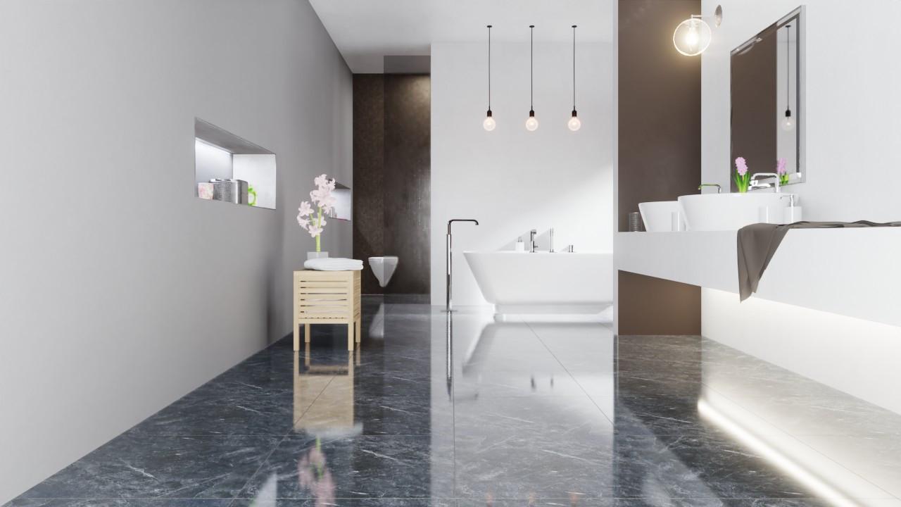 Bodenfliesen Messina Schwarz Premium Marble Glänzend 60 x 60 cm Feinsteinzeug - Interio