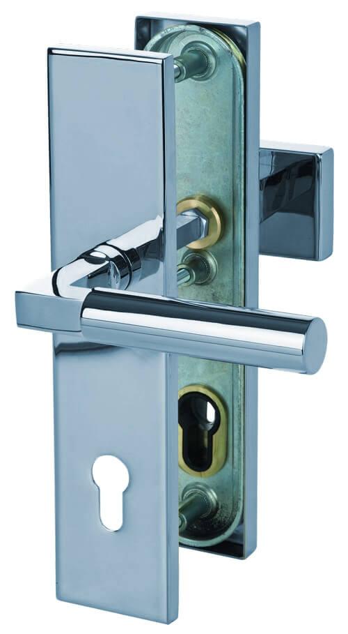 Sicura Alaska Square-LS/LS Chrom-pol. Schutzbeschlag für Wohnungseingangstüren - Südmetall