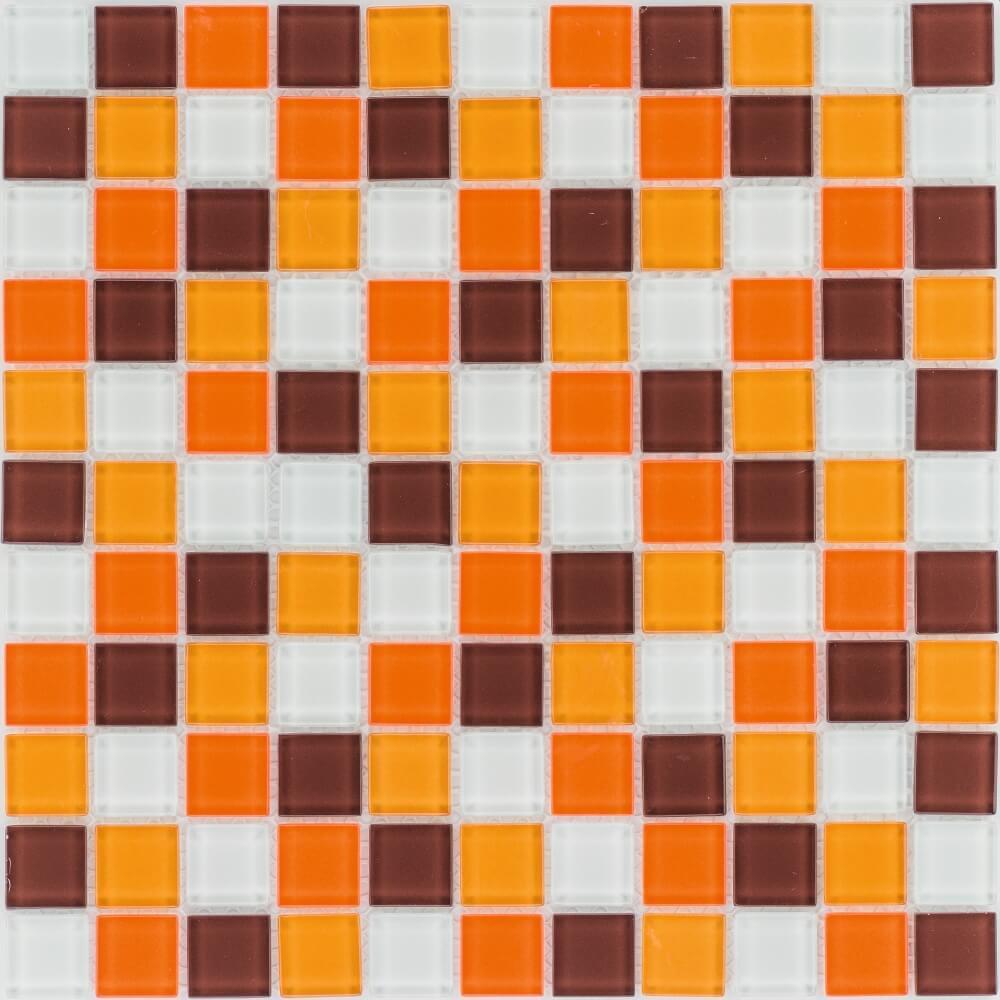 Glasmosaikfliesen Orange Braun Weiß Glänzend für die Wand 30 x 30 cm mit Steinmaß 25 x 25 mm - Interio