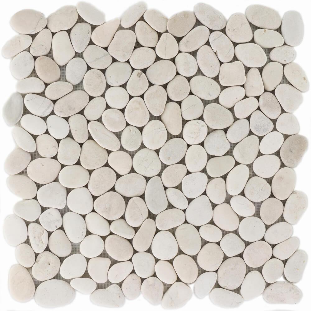 Natursteinmosaikfliesen White Matt für Boden und Wand 30,5 x 30,5 cm - Interio