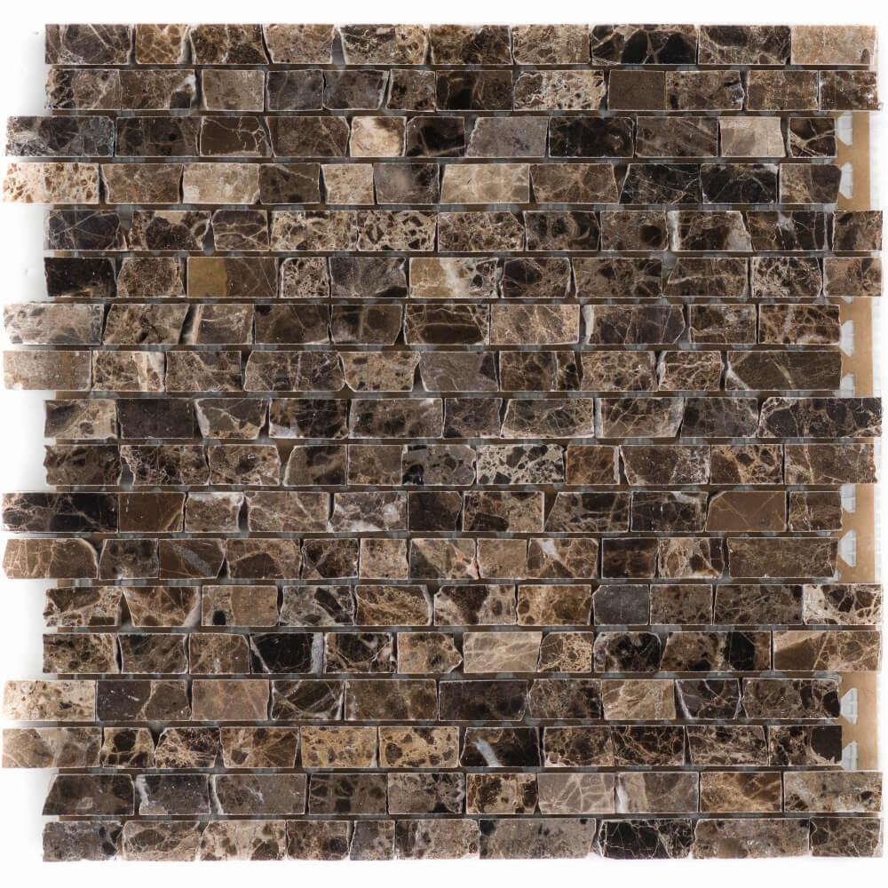 Natursteinmosaikfliesen Marron - Emperador Dark Brick Glänzend für die Wand 30,5 x 30,5 cm - Interio