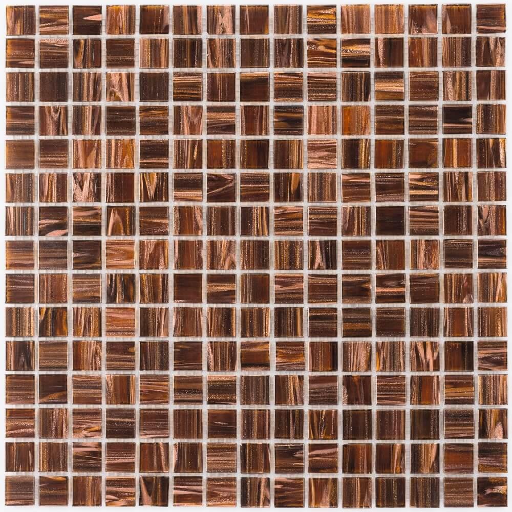 Glasmosaikfliesen Kupfer Hellbraun Glänzend für die Wand 32,7 x 32,7 cm - Interio