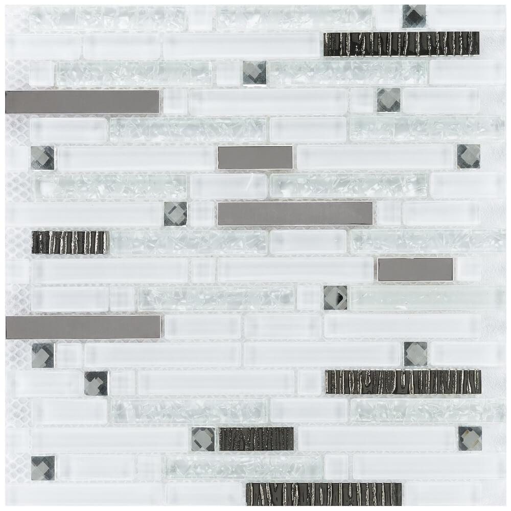 Kombimosaikfliesen Crystal Silver Brick Glänzend für die Wand 30 x 30 cm - Interio