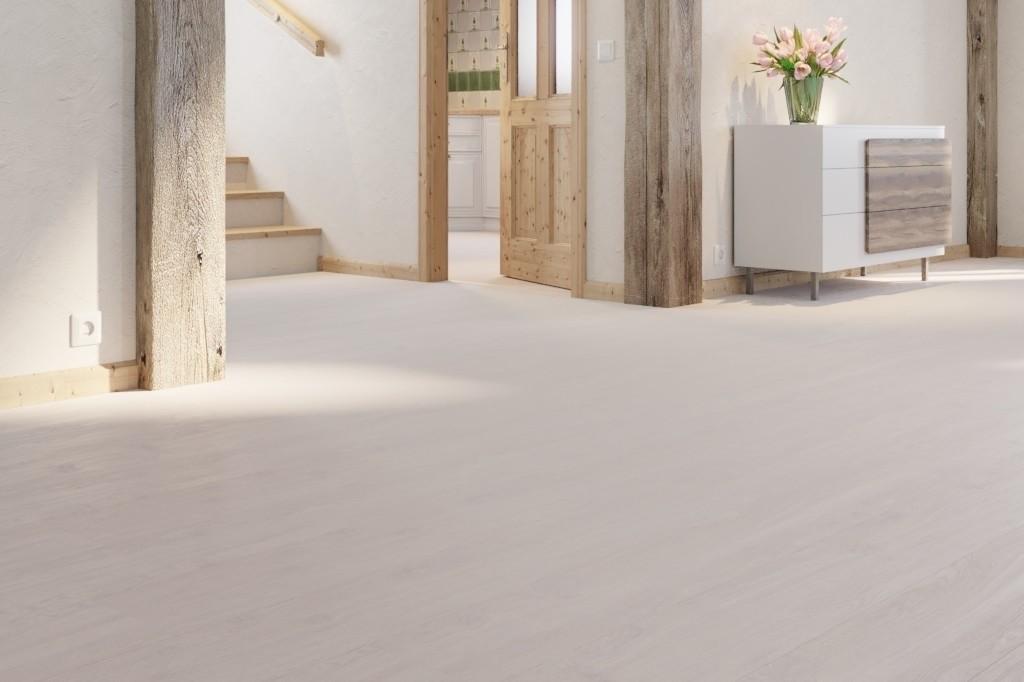 Eiche harmonisch weiß 1-Stab Landhausdielen Laminatboden Premium inkl. Trittschalldämmung Melango LD 300 20 S-6139 - Meister