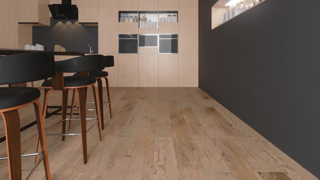 Milieubild Detailansicht Wohnküche mit Sitzgruppe mit Bodenfliesen Sand Matt Kenzo 20 x 180 cm Feinsteinzeug - Interio