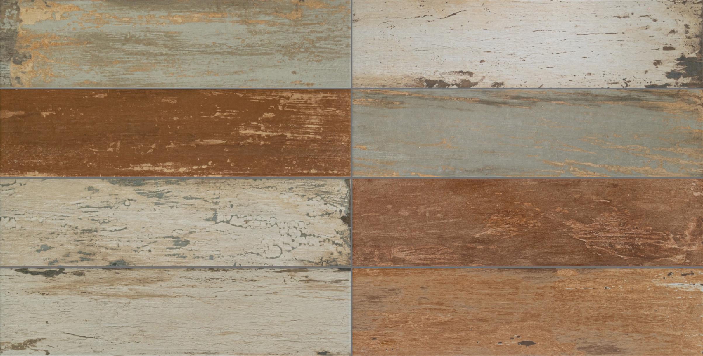 Bodenfliesen Marvelwood Mix Matt Woodenmystery 15 x 60 cm Feinsteinzeug - Interio