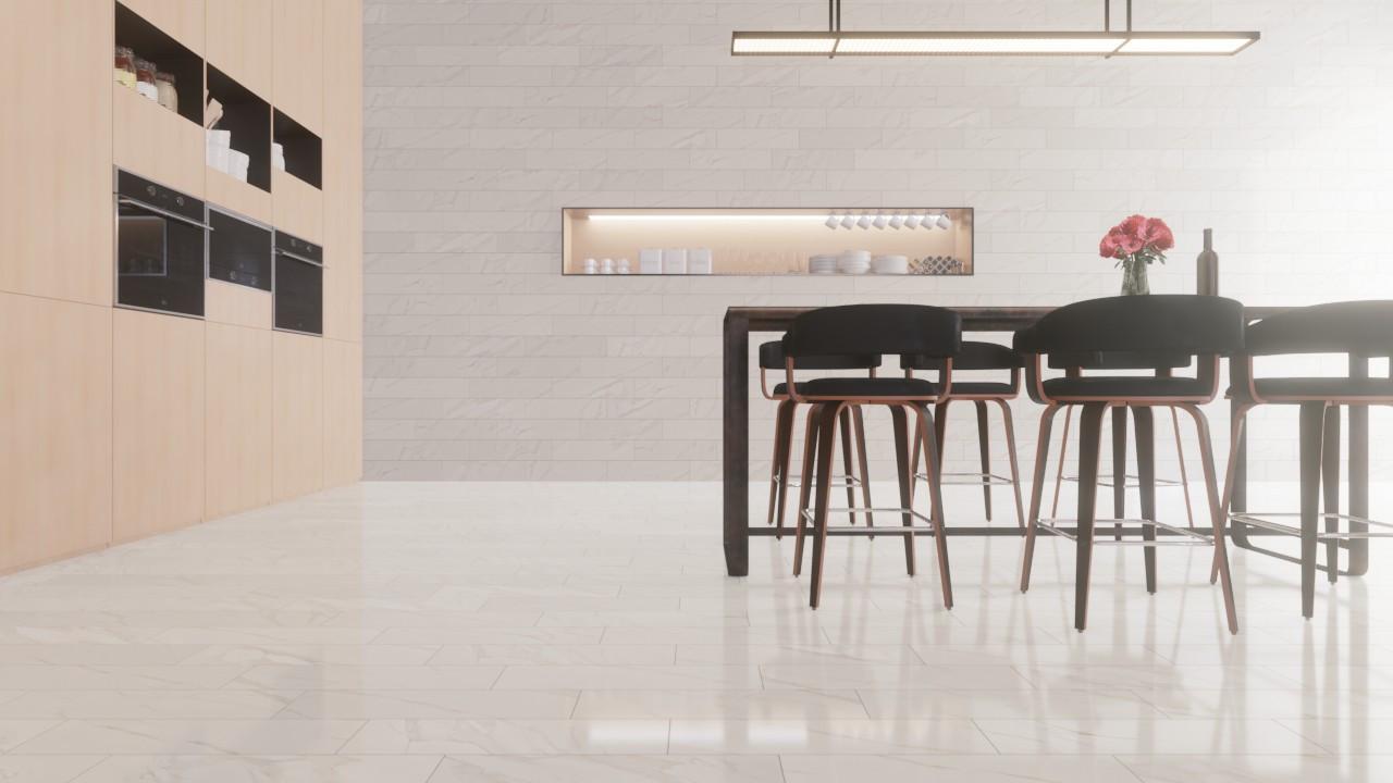 Boden- und Wandfliesen Calacatta Lux Glänzend Evolutionmarble 15 x 60 cm Feinsteinzeug - Marazzi