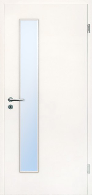 Wohnungseingangstür mit Brandschutz T-30 Typ48 Uni Weisslack 9010 Glasausschnitt schlossseitig Jeld-Wen