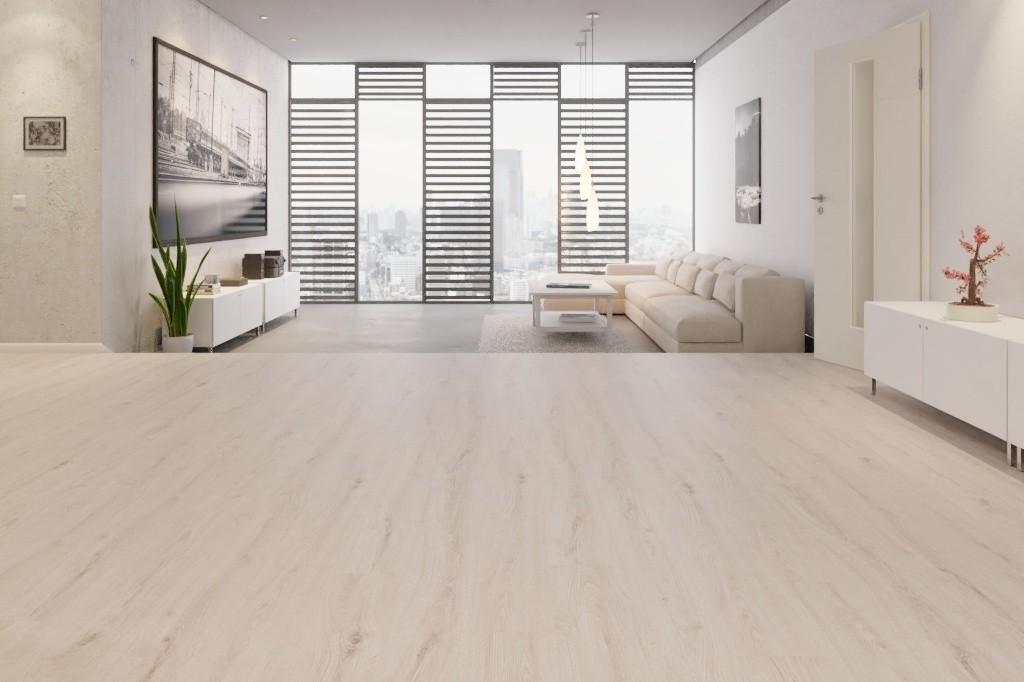 Sommer Eiche Hell Grau Allover Laminat Superior Basic D3904  - Swiss Krono Milieu Penthouse