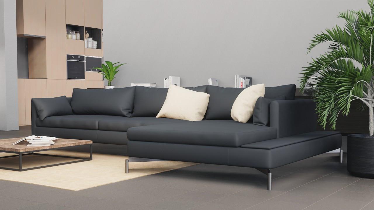 Milieubild Perspektive Wohnküche mit Sofa mit Bodenfliesen Graphite Matt Shooting Star 30,5 x 30,5 cm Feinsteinzeug - Interio