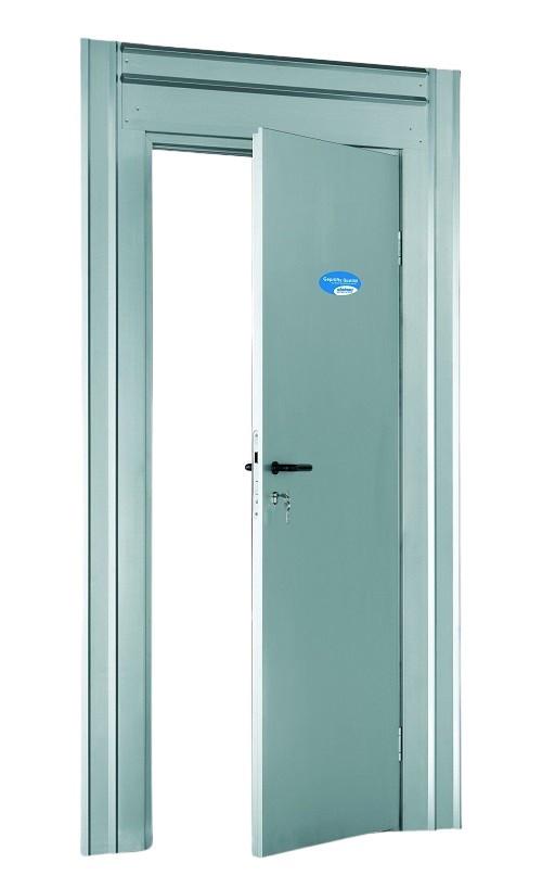 Frontansicht von Baustellen-Schutztür-Set OVL-Si einbruchhemmend Stahl verzinkt inkl. Zarge und Drücker - Steinau
