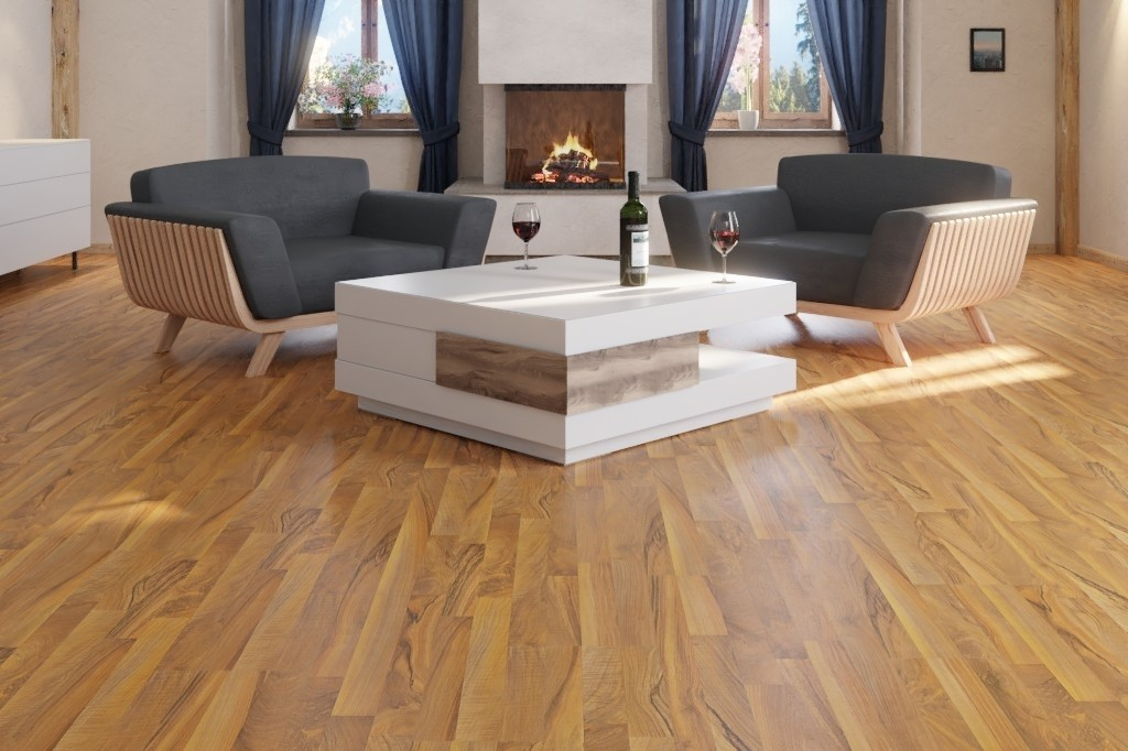 Ticino Nussbaum 3-Stab Laminat Superior Standard D1440  - Swiss Krono Milieu Blockhaus