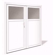 NET 1039-2 Aluminium Doppelflügel Nebeneingangstür mit Glasausschnitt - Interio