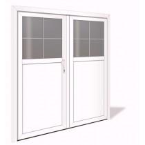 NET 1040-2 Aluminium Doppelflügel Nebeneingangstür mit Glasausschnitt - Interio
