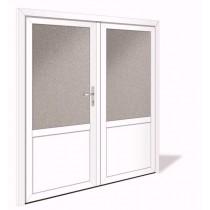 NET 1041-2 Aluminium Doppelflügel Nebeneingangstür mit Glasausschnitt - Interio