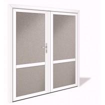 NET 1043-2 Aluminium Doppelflügel Nebeneingangstür mit Glasausschnitt - Interio