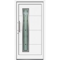Weiße Basic Aluminium Haustür Norderney 6E Glas Rettin - Brand