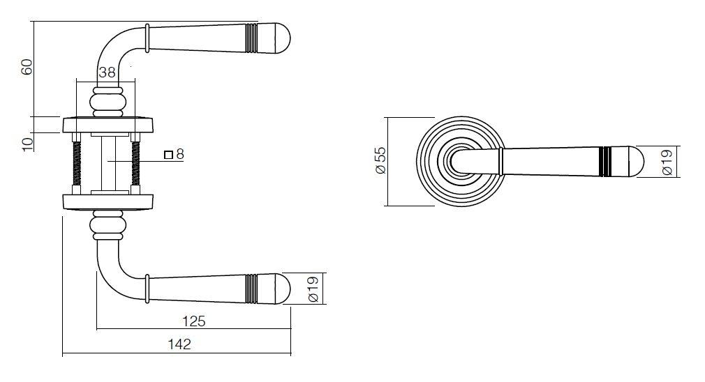 Technische Zeichnung Emily Rundrosetten Garnitur - ProGriff