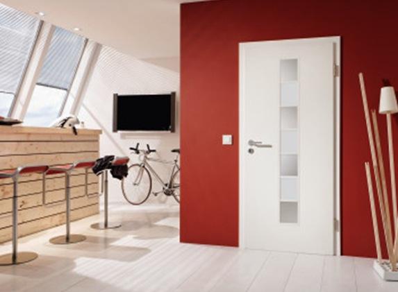 Weiße CPL-Tür A 223 mit Sprossenrahmen von Westag & Getalit