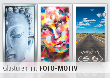 Drei Glastüren mit Foto-Motiv, Buddha, Frau, Route 66
