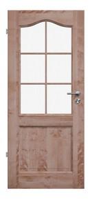Elegante Massivholztür, Landhaustuer, Massivholztür, Birke, lackiert, Schweifbogen, Glasfüllung, Sprossenrahmen