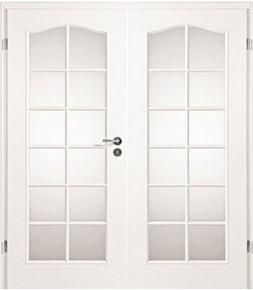 Landhaustuer, Weißlack, Doppelflügel-Tür, Stiba Plus, Jeld-Wen, Lichtöffnung Schweifbogen