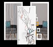 Ganzglas-Innentüren, farbig verziert
