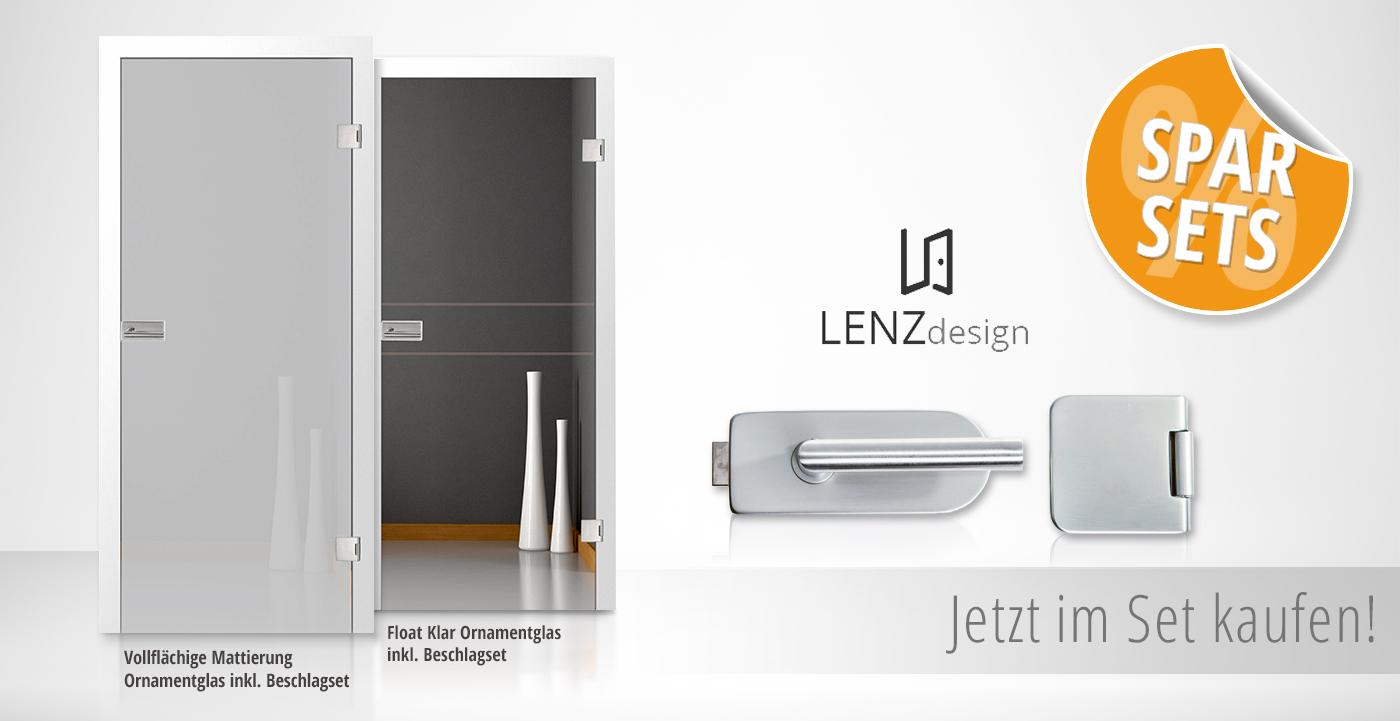 Lenz Design, Spar Set, Glastüren, matt, klar, Tür, Drücker