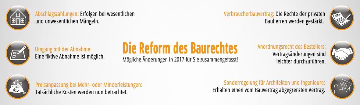 Baurechtreform, 2017, Neuerungen, Bauwesen