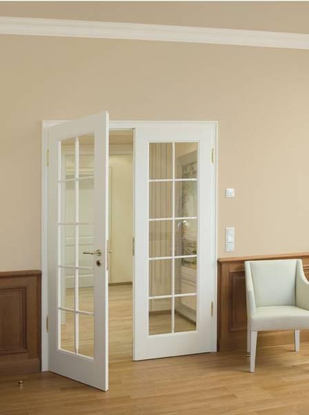 Weißlacktür, Glaseinsatz, Weiße Tür, Weiße Innentüren, Zweiflügelig, zwei flügel, zwei Türblätter weiß