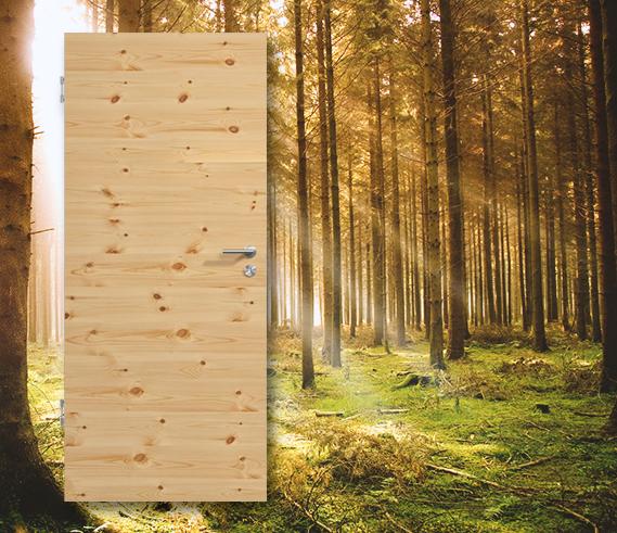 Querfurnierte Massivholztür TG-1 Kiefer astig lackiert, Produktbild