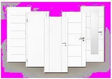 Drei freigestellte weiße Innentüren der Luna Reihe