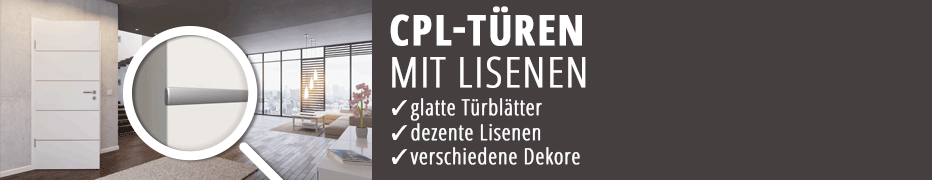 CPL-Türen, moderne Innentueren, Lisenen-Türen, CPL-beschichtete Zimmertüren, robust und langlebig, preisgünstig