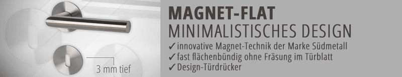 Türdrücker magnet flat, Türklinke, flächenbündige Türdrücker-Garnitur,  hochwertig