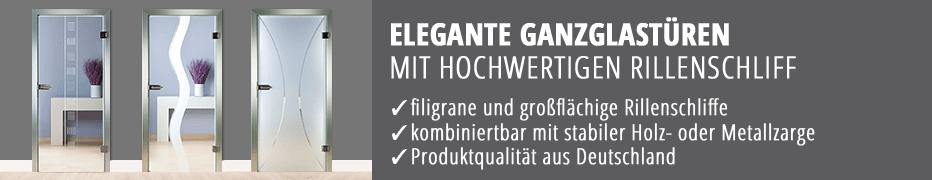Ganzglas-Innentüren, Rillenschliff, Gravur, Zimmertüren, günstig