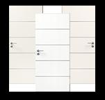 Drei weiße Innentüren mit Lisenen