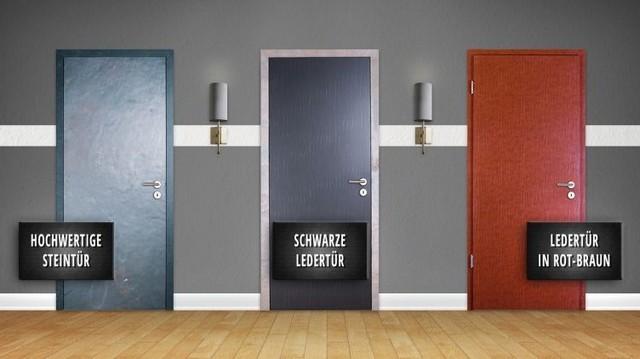 Türen mit Stein- und Lederoberfläche von Konold
