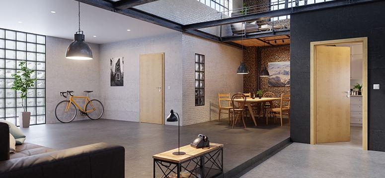 Wohnzimmer mit Zimmertür in Ahorn Rustikal von Westag & Getalit