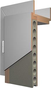 Röhrenspanplatte im Inneren der Tür